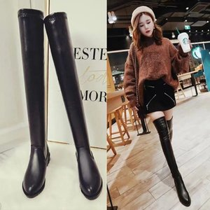 2020 Women's Pu Leather Over-the-knee Thin Flat-bottomed Low-mid-heeled Over-the-knee Long High-barrel Elastic Boots