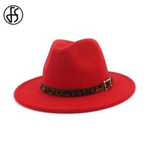 FS 2020 New Felt Hats Men Godfather Wide Brim Fedora Women Vintage Hat Elegant Bowler Cap With Leopard Belt Bucket Caps