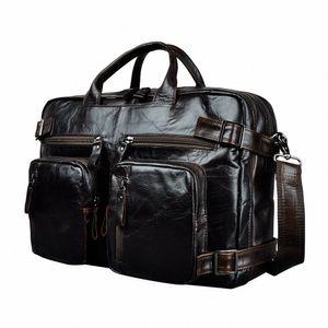Genuine Leather Man Design Multifunction Purpose Maletas Maletin Business Briefcase 15 Laptop Bag Tote Portfolio Bag K1013 Metal Brief HeYR#