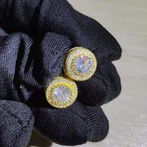 Moda luxo redondo zircão brincos para homens e mulheres ouro prata cz diamante prisioneiro brinco lindo anel de cristal de cristal de jóias