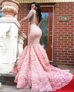 Gorgeous Pink Long Sleeve Prom Dresses Sexy See Through Long Sleeves Open Back Mermaid Evening Gowns South African vestidos de novia