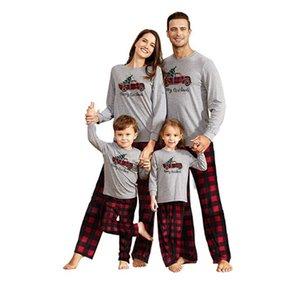 Семейные сопоставительные наряды Урожай клетки автомобиль буквы взрослых детей рождественские пижамы рождественские рождественские ночные белье рубашки брюки хлопчатобумажные PJS комплект трексуита