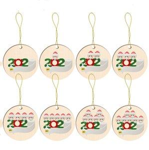Ornamento personalizado do Natal Decoração Quarentena Família Brinquedos Rodada Madeira Xmas Tree madeira Pendents encantos do partido dos desenhos animados E92601 Favor