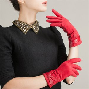 Fashion bridal bow splicing sheepskin gloves, winter warm leather gloves to keep out the cold