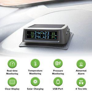 2020 New Solar TPMS Car Tire Pressure Alarm System Monitor Display Intelligent Temperature Warning Fuel Saving Using 4 TPMS Sensors