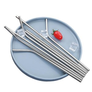 A pack of 50 Durable Stainless Steel Straight Bent Drinking Straw Bar Family kitchen For Beer Fruit Juice Drink Party Accessory
