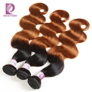Пикантно волос T1B / 30 перуанский Body Wave Пучки 100% человеческих волос Weave Связки Удлинители Brown Омбре Remy Huamn волос 1/3/4 Связки
