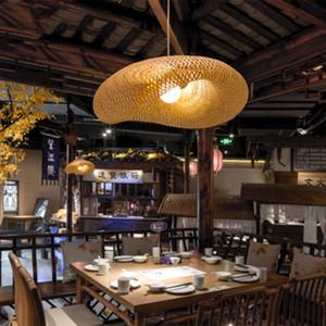 Chino de la lámpara LED de bambú luces pendientes restaurante Rattan Decoración pendiente de la luz de la sala Lámpara colgante Luminaria de suspensión