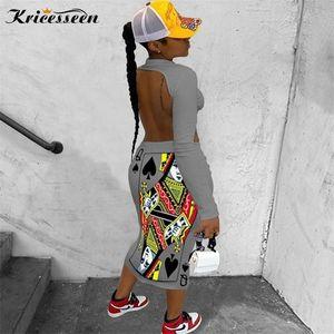 Kricesseen Casual Women Print Poker Midi Dress Autumn Ladies Long Sleeve Backless Bodycon Party Clubwear 2020 Fashion Dress0921