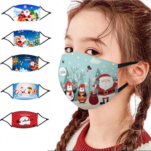AMÉRICAINES 16 Styles Enfants Père Noël Masques de Noël Masques de Noël visage anti-poussière lavable bouche avec filtre réutilisable FY4239 DHL Shipp