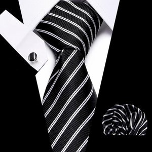 Luxury 7.5 cm Blue Stripe Tie Clip Handkerchief Cuffink Necktie SetBusiness Wedding Formal Dress Accessories Mens Classic Tie