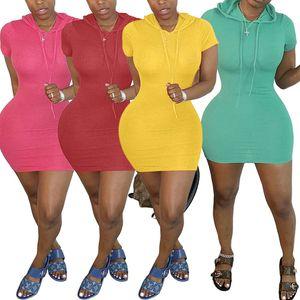 Women hooded mini dresses summer clothes sexy & club elegant shorts sleeve sheath column solid stylish holiday party dress beachwear 0297