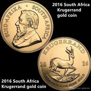 10pcs Свободная перевозка груза / серия, 2016 Южная Африка Крюгера Золотая монета 24K позолоченный Proof Золотая монета без