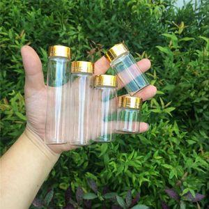 Wholesale- Jars Containers Glass Bottles Aluminium Gold Screw Cap Empty Glass Bottles 15ml 25ml 40ml 50ml 60ml 50pcs Free Shipping1