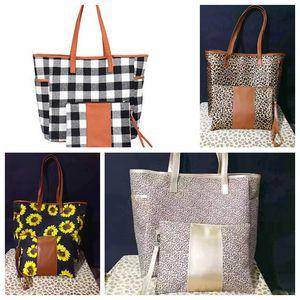Sunflower Shoulder Bags Leopard Patchwork Handbag With Zipper Wristlet Purse Women Fashion Plaid Tote Travel Shopping Bag DHB1611