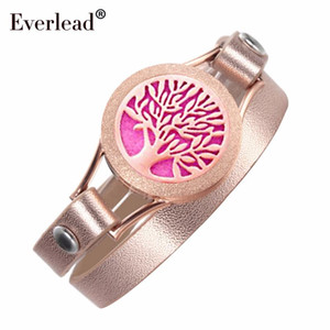 EVERLEAD Wrap Double Leather Bracelets for Women Tree of Life Rose Gold Color Wellness Diffuser Oils Work 25mm Locket Bracelet