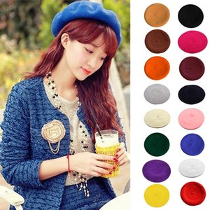 Hot Sell 2020 Cheap Fashion New Women Wool Solid Color Beret Female Bonnet Caps Winter All Matched Warm Walking Hat Cap 16 Color