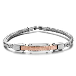 RUIMO High Polished Men Luxury 316 Stainless Steel Silver color Steel Wire Machine Design Jewelry Bracelet for Men and Women DIY