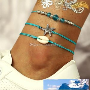 Summer Beach Starfish Shell Charm Rope String Anklets For Women Ankle Bracelet Sandals Leather Chain Foot Jewelry 3pcs set