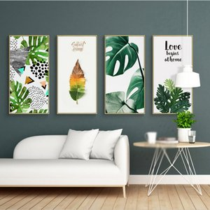 SURE LIFE Tropical Green Leaf Природа Poster Sweet Love Pictures холст картина печать стена искусство для гостиной Home Decor