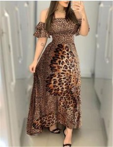 Womens Designer Dress Big Butterfly Leopard Printed Slash Neck A Line Dress Casual Female Clothing Summer