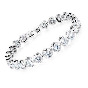 2 Colors Platinum Plated Cubic Zirconia Tennis Bracelet For Women Roman Crystal Wedding Bridesmaid Jewelry, DS960