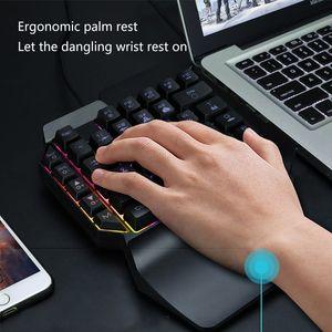 Gaming Keyboard Gaming Preto Wired 35 teclas retroiluminadas ergonômico único teclado Mão One-handed Teclados impermeável