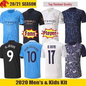 Футбольные майки 20 21 Manchester City KUN AGUERO 2020 2021 G.JESUS Fans Player Версия DE BRUYNE STERLING Футбольная рубашка Man + Kids kit