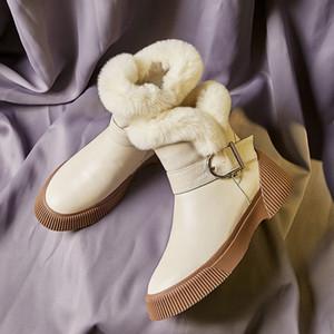 MLJUESE 2020 femmes bottines vache cuir hiver en laine mélangée bottes de neige féminine boucle bout rond fête de mariage robe