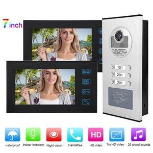 7in 2 moniteurs RFID Home Video Accès avec caméra Sonnette d'interphone IR-CUT 100-240