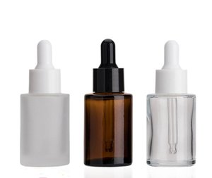 240pcs 30ml Frosted  Clear  Amber Flat Shoulder Essence Bottles Thick 1OZ Glass Dropper Container with White Black Lids SN269