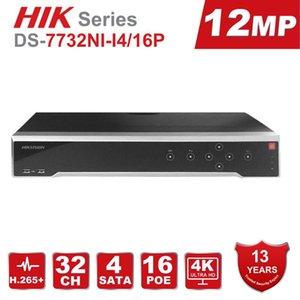 Original HIK 32CH POE NVR DS-7732NI-I4 / 16P 32 Canal 16 Portas de POE Rede Gravador de vídeo Suporte Two-Way Discussão até 12MP Registro