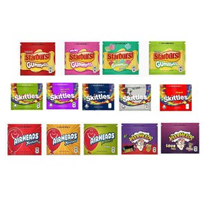 Skittles Warhead Starburst Airhead Gummies Mylar Bag 400mg 408mg Empty Edibles Package Zipper Storage Pouch for Dry Herb Tobacco