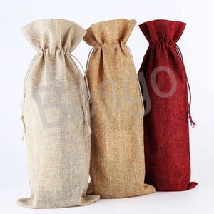 Dust-proof Wine Bottle Covers Imitation Linen Drawstring Wine Bottle Bags Christmas Dinner Table Decorations Red Wine Storage Bag BH4140 WXM
