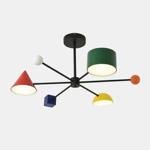 Bunte neue Ankunfts-Kind-Raum Deckenpendel Led Licht Nordic-kreatives Spielzeug Brick Macaron Dimming Pendelleuchte 30W
