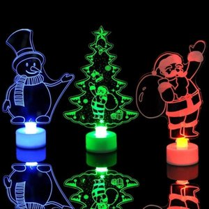 3D LED Night Lights Lamp Kids Bedroom Decor Santa Claus Snowman Towel Christmas Tree Flash Light Wedding Party Gifts