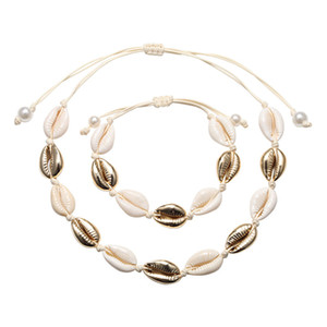 Bohemia Vintage Cowrie Conch Shell Pendant Necklace Bracelet Handmade Natural Seashell Ocean Sea Beach Jewelry Women Accessories