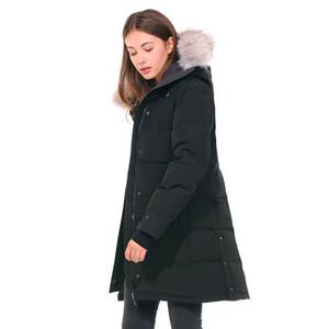 Inverno canadá mulheres parka grosso peles quentes removíveis com capuz jaqueta de jaqueta feminina casaco fino de alta qualidade Doudoune