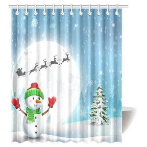 Año Nuevo Inicio Baño Ducha Decoración de Navidad Cortina de ducha Cortina Decoración Feliz Navidad muñeco de nieve