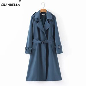 Ladies' Trench Coat Elegant Blue Front Open Cardigan Trench Coat With Belt Women Chic Long Windbreaker manteau femme