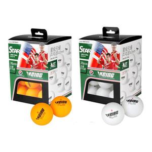 Atacado-36pcs 40 milímetros Uma Estrela Ténis de Mesa Branco Amarelo prática esportiva Pingpong Balls Cor caixa de embalagem Weing Balls