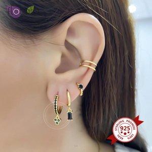 Netter Mini 925 Sterlingsilber-Band-Ohrringe für Frauen Schwarz / Weiß-Kristall-hängende Ohrringe Gold Silber Kreis Ohrringe