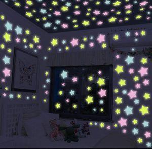 Luminous Star Stickers Kid Bedroom Wallpaper Fluorescent Glow Wall Stickers Ceiling Bright Luminous Wall Stickers Home Decals Sticker LSK260