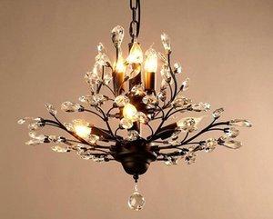 Lámparas de cristal Lámparas Cgjxs K9 araña de cristal rama de árbol Colgante de la vendimia del hierro lámparas modernas de estar luz de techo Iluminación Fixt