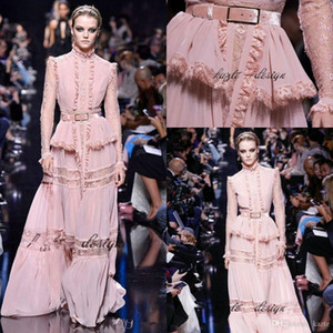 Modest Blush Pink Elie Saab Evening Pageant Dresses with Long Sleeve 2021 High Neck Lace Edge Peplum Custom Make Prom Formal Dress