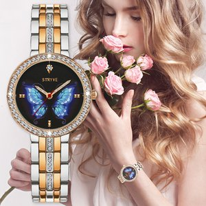 Кристалл кварц часы Престижных Женщин Моды бабочка женщин для Релоха Mujer дам наручных часов Девушки Баян Kol Саати