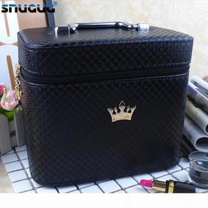 Mujeres Noble Corona Gran Capacidad profesional del maquillaje de la caja del organizador de alta calidad cosmética bolsa de almacenamiento portátil cepillo Box Maleta J190614