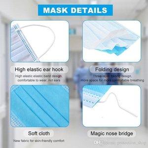Yetişkin Döngü 100pcs 3 Kat nefes ile Stok Kulak Elastik Tek kullanımlık maske ve Blo için Rahat