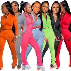 Mulheres Treino Dois Set peça de designer de moda cor sólida manga comprida Calças Sportswear Roupas Ladies Casual Esportes ternos 2020
