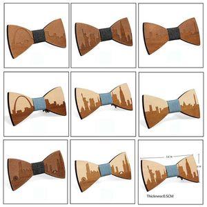 Moda Ahşap Gentleman Bow Kravatlar El yapımı İl Göster Kelebek Düğün Bow Kravatlar Kelebek Man Ahşap Benzersiz Tie